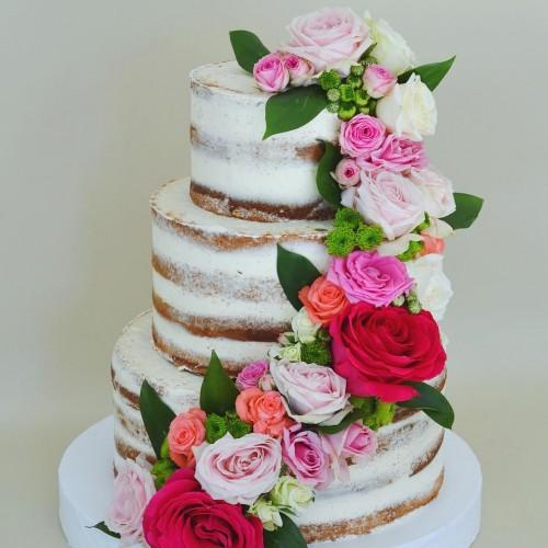 №215 Голый торт с цветами