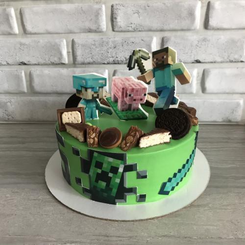 Торт с фотопечатью и шоколадным декором Майнкрафт
